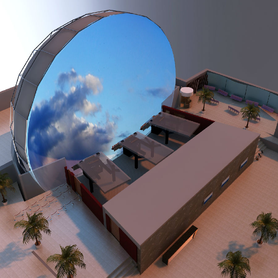 (球幕影片畫面)中飛行穿梭體驗的大型室內娛樂項目